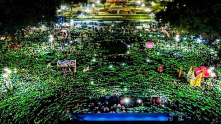 pañuelazo verde en plaza congreso