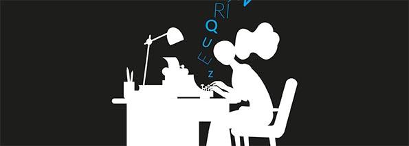 ilustracion de una mujer escribiendo notas de noche en su escritorio de trabajo