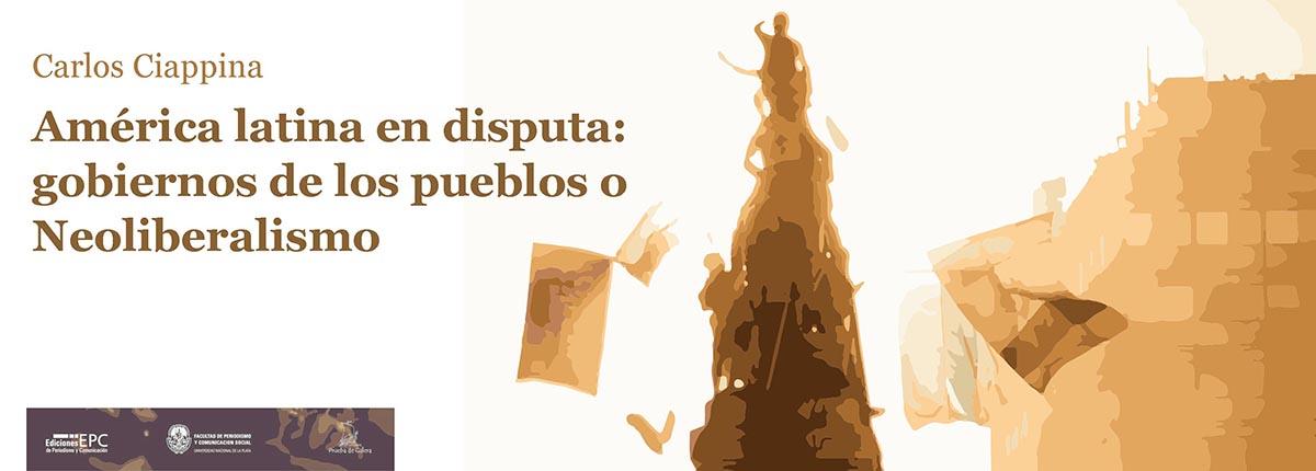 ilustracion: el pueblo manifiesta con banderas en un monumento público de una ciudad