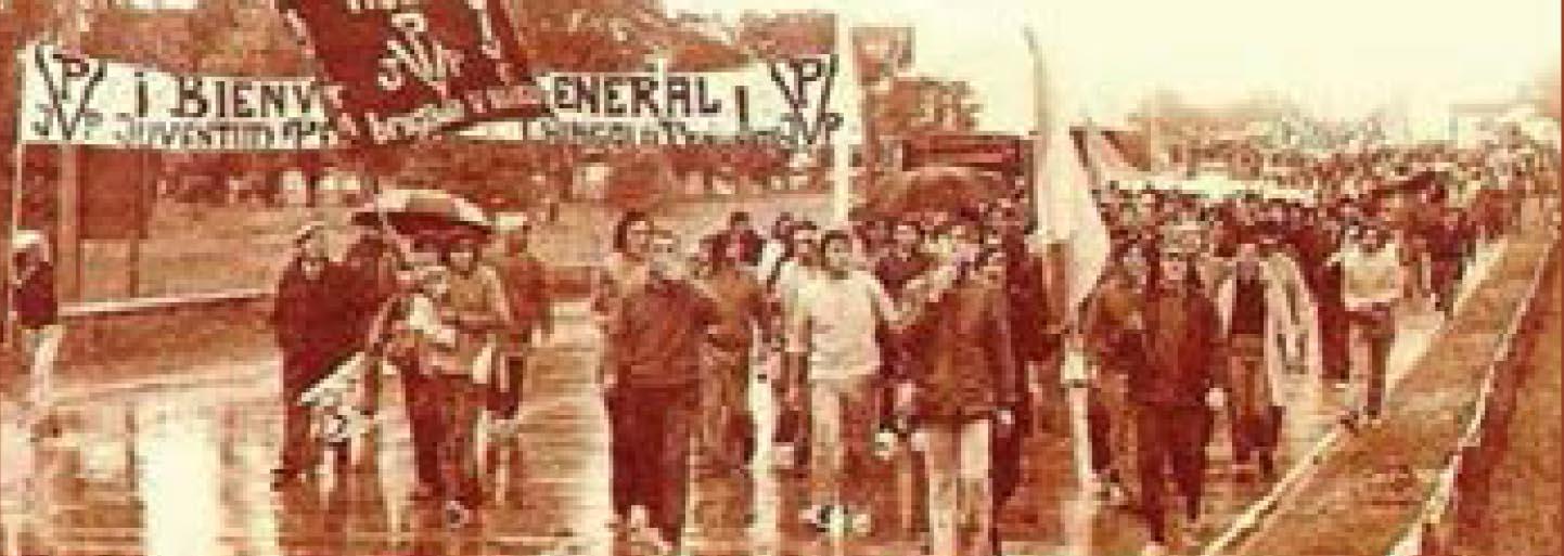 marcha peronista en las calles de la plata durante la década del 70